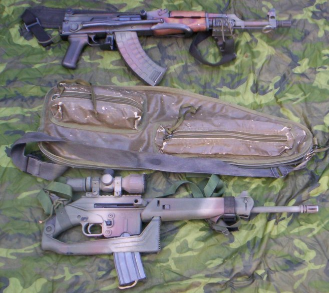 Both the AKMS and The SU16C fit inside an M60 barrel bag (pictured) or other cases (racket, guitar, etc.) for ease of concealment.