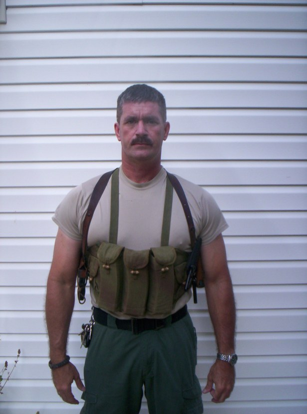 Chest rig with six AR mags in place