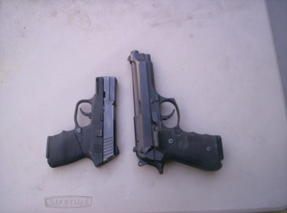Sub compact Keltec PF9 (left), Full size Beretta M9. Both 9mm Nato pistols