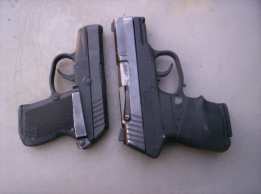 On the left is a Keltec 3AT (.380 ACP), and a Keltec PF9 (9mm)