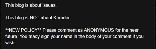 Kerodin's comment policy